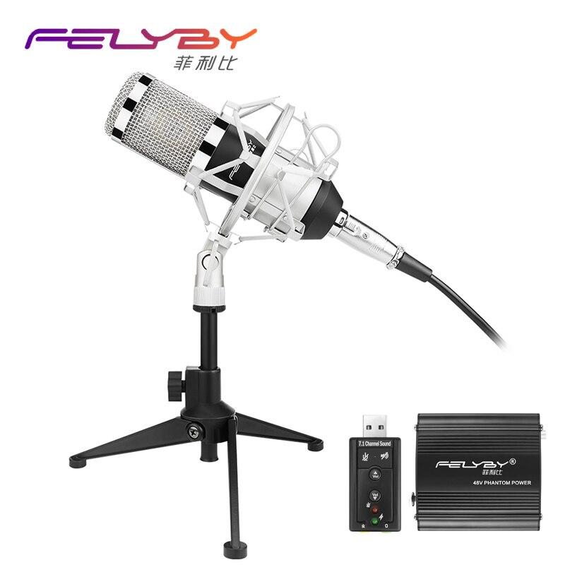 Nova versão bm 800 Microfone Condensador PC/KTV Pro Estúdio de Áudio KTV Karaoke Vocal Microfone + Choque de Montagem de Metal + Tripé de metal