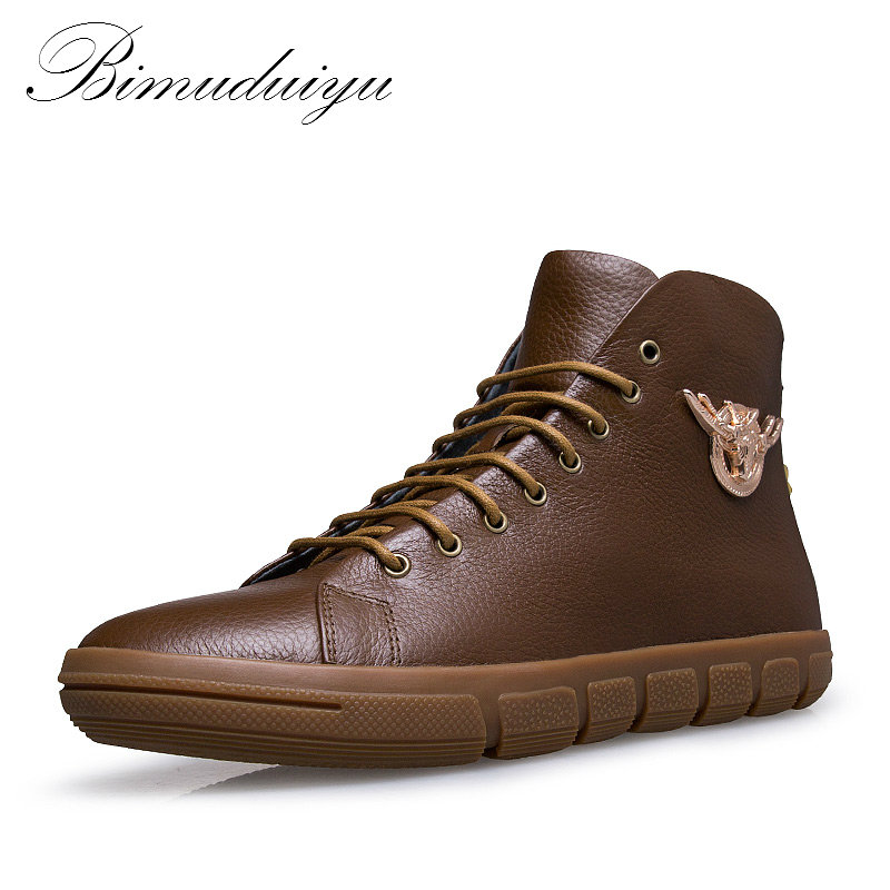 BIMUDUIYU Brand New Men Winter/Autumn Boots Warm Genuine Leather Waterproof Motorcycle Boots Snow Boots Winter Shoes Men mulinsen new 2017 autumn winter men