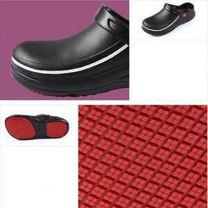 Image 3 - EVA Hohe Qualität Nicht slip Wasserdichte Öl proof Küche Arbeit Schuhe für Chef Master Kochen Hotel Restaurant Hausschuhe flache Sandalen