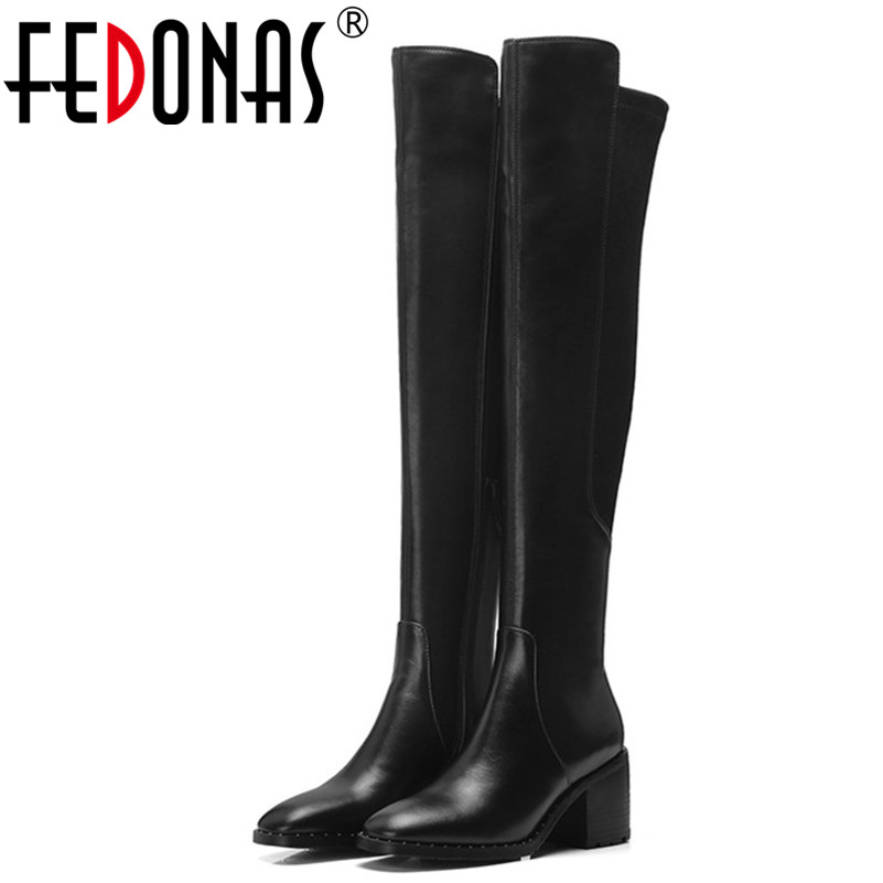 FEDONAS Fashion Brand Women Over The Knee High Boots High Heels Long Warm Knight Boots Sexy Pointed Toe Patchwork Dancing Shoes сумка женская dakine stashable duffle stella