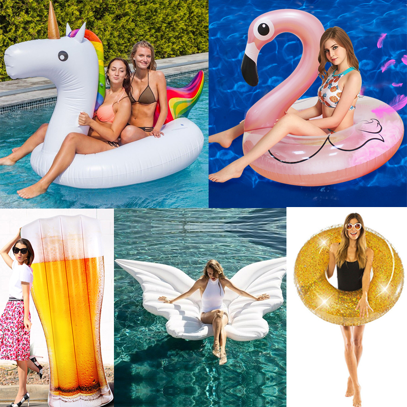 25 Style Giant Flamingo/Unicorn/Toucan/Swan/Pegasus Inflatable Pool Float Ride-On Mattress Water Party Toys For Adult Kids Boia