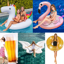 25 Style Giant Flamingo/Unicorn/Toucan/Swan/Pegasus Inflatable Pool Float Ride-On Mattress Water Party Toys For Adult Kids boia 70 inch 1 9m giant swan pvc inflatable pink flamingo ride on pool floating toy swim mat for adult child float chair pf025