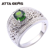 Natural Chrome Diopside Sterling Silver Men's Ring Classic Style Men's Wedding Band Fine Jewelry Brand Silver Rings