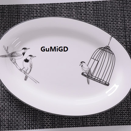 Gucinordic Simple Fish Dish Steamed Bone Oval Large Ceramic Plate Microwave Oven Tableware Birds In Dishes Plates From Home Garden On