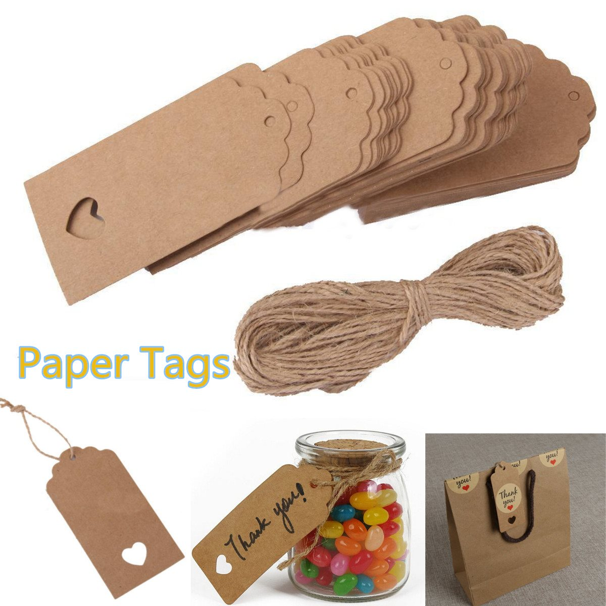 100pcsset kraft paper tags hanging labels string price craft diy 100pcsset kraft paper tags hanging labels string price craft diy card tags wedding party favor gifts bags boxes decoration in party diy decorations from jeuxipadfo Choice Image