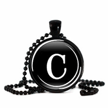2016 Новый Письмо C Ожерелье художественное Стекло Кабошон фото ювелирные изделия ручной работы Черный длинные бусы ожерелье женщины подарок