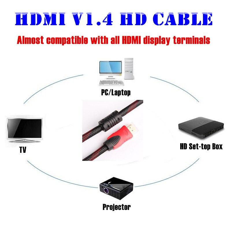 Câble HDMI vers HDMI plaqué or 100 p, maille en Nylon 1.4V HD 1080P pour LCD DVD HDTV XBOX PS3 projecteur PC portable, 1.5M 3M 5 M, Support 3D - 6