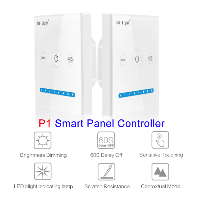 цена на Mi light Smart touch panel switch Controller DC 12v 24v Wall embedded Dimming Panel Controller for led strips Indoor decorations