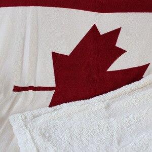 Image 3 - Hai lớp dày canada maple leaf canada cờ sherpa sang trọng ném chăn 50x60 inch