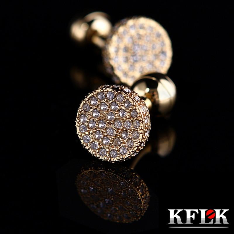 KFLK Jewelry Shirt Cufflinks Mens Brand Light Yellow Gold Color Round Cuff Link Button High Quality Luxury Wedding Free Shipping