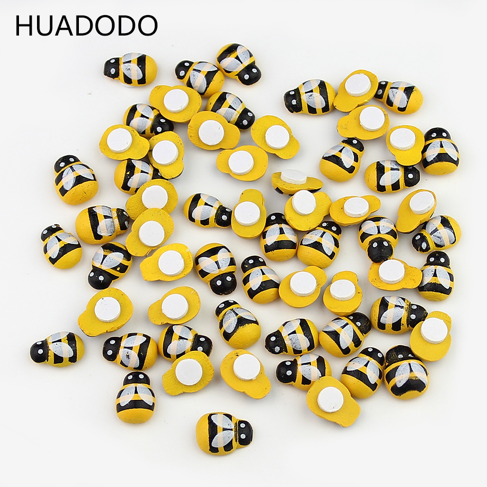 HUADODO 100PCS/Lot Mini Bee Wooden Ladybug Sponge Self-adhesive Stickers Fridge wall Scrapbooking Home Decoration(China)