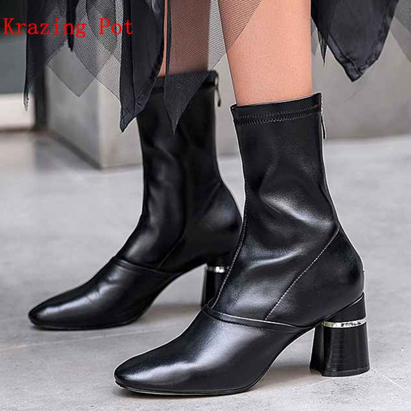 Krazing Pot 2018 round toe genuine leather square high heels British school superstar slip on elegant women mid-calf boots L81 krazing pot 2018 flannel solid peep toe slip on fashion runway lady superstar wedges autumn spring lazy style mid calf boots l33