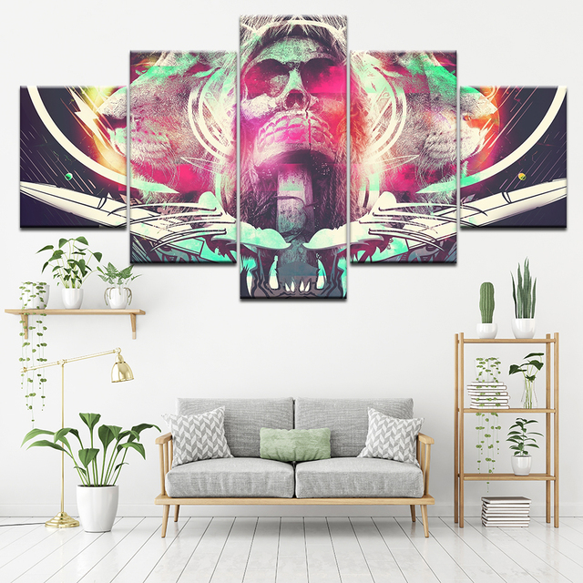 5 PIECES ABSTRACT COLORFUL SKULL WALL POSTER
