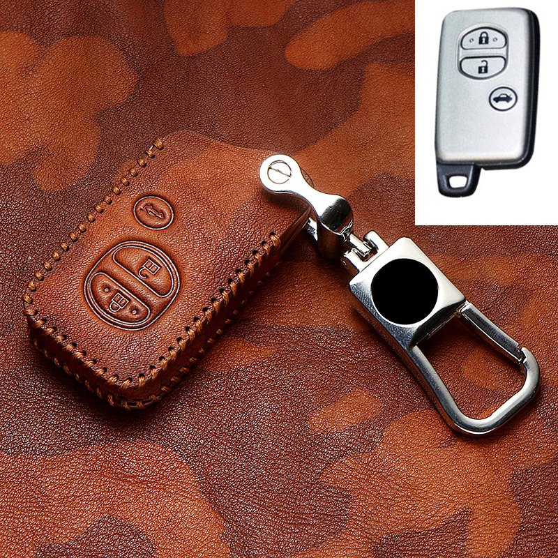 Genuine Leather Car Key Case Cover For <font><b>Toyota</b></font> Land Cruiser Prado <font><b>150</b></font> Camry Prius Crown For Subaru Foreste XV Keychain Retro image