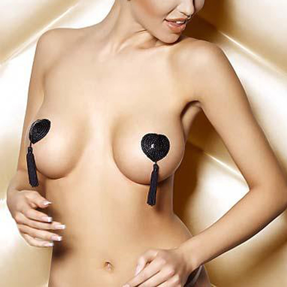 Hot Sales Sexy Self Adhesive Bra Sequin Tassel Nipple Cover Heart Shape Invisible Bra Pasties Breast Petals Free Shiping