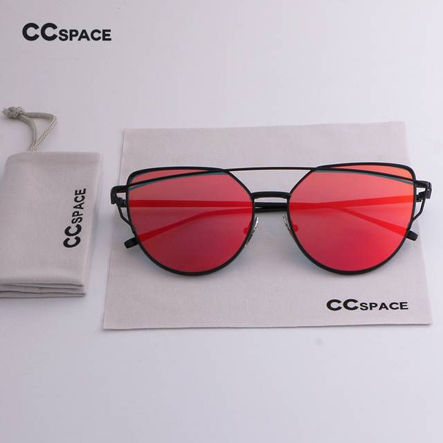 1d3f3e4b4d CCSPACE Women Cat Eye Sunglasses Brand Designer Twin-Beams Black Frame Flat Sun  Glasses Red Lense Mirror With Bag Cloth SU214