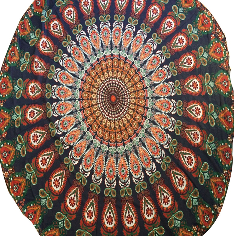 Round Beach Pool Home Shower Towel Blanket Table Cloth Yoga Mat European Peacock feathe serviette Swim Towels Scarf @206