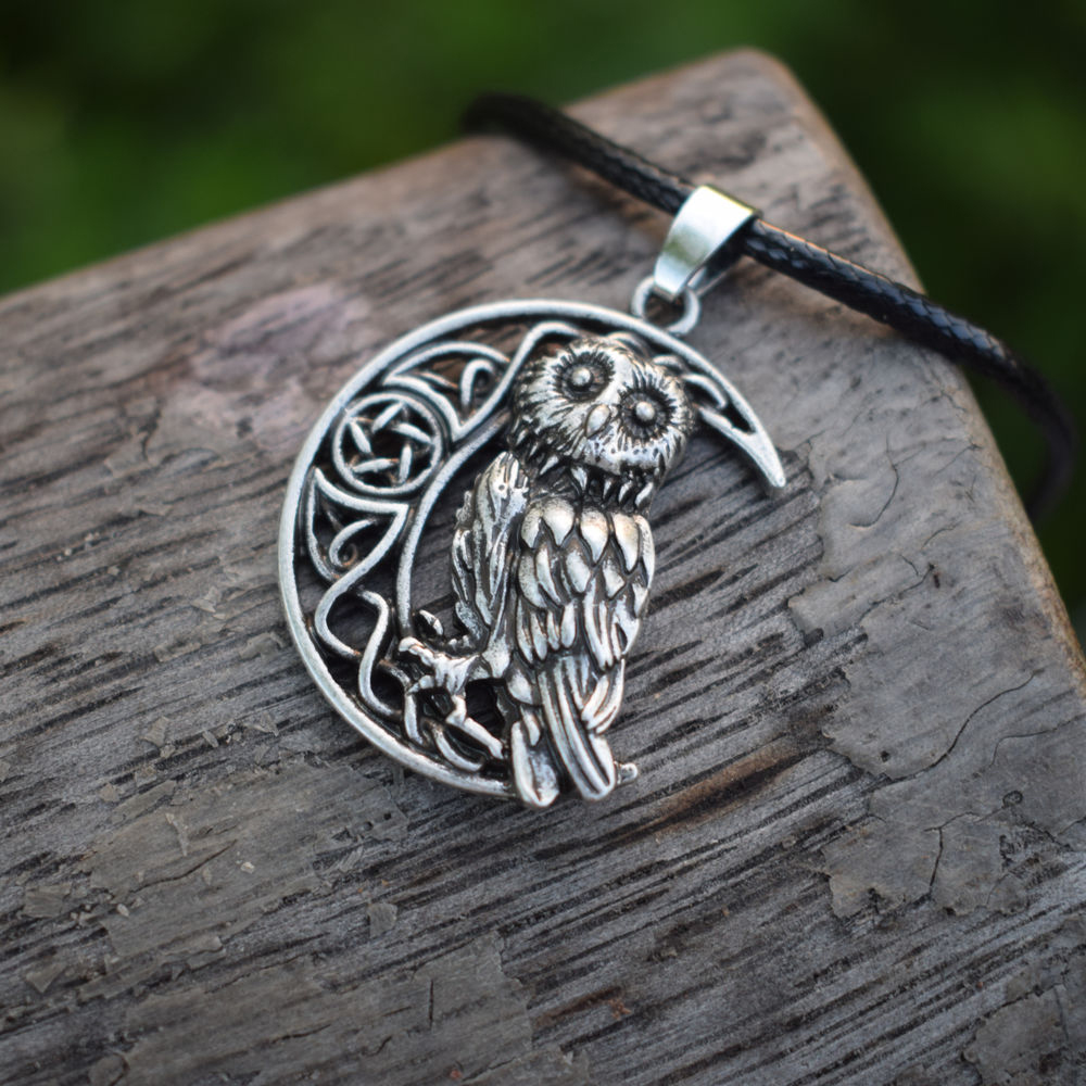 US $27 99 |12pcs Owl Goddess Crescent Moon Pendant Wicca Celtic Pagan  Amulet Talisman Occult Magick Athena Wisdom Knowledge SanLan Jewelry-in  Chain