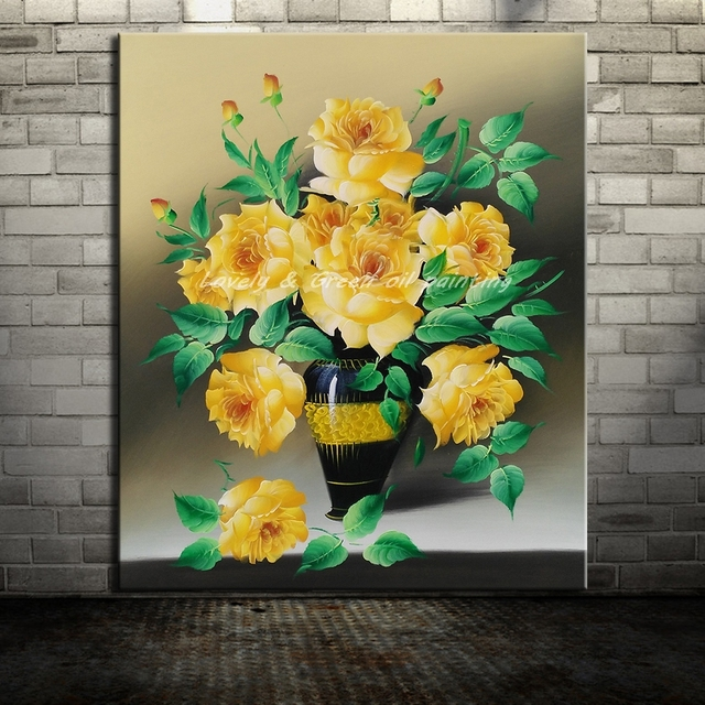 Frameless Paintings Hand Painted Yellow Flowers Oil Painting On ...