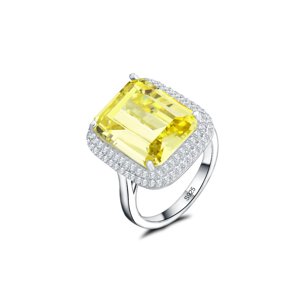 Us 46 18 Luxury Wedding Ring Emerald Cushion Cut Engagement Rings For Women 925 Sterling Silver Promise Ring That Never Fade In Wedding Bands From