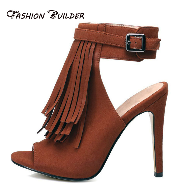 2016 New Summer Fashion Tassel Open Toe Buckle Strap High Heels Sandals Sweet Stiletto Women Casual