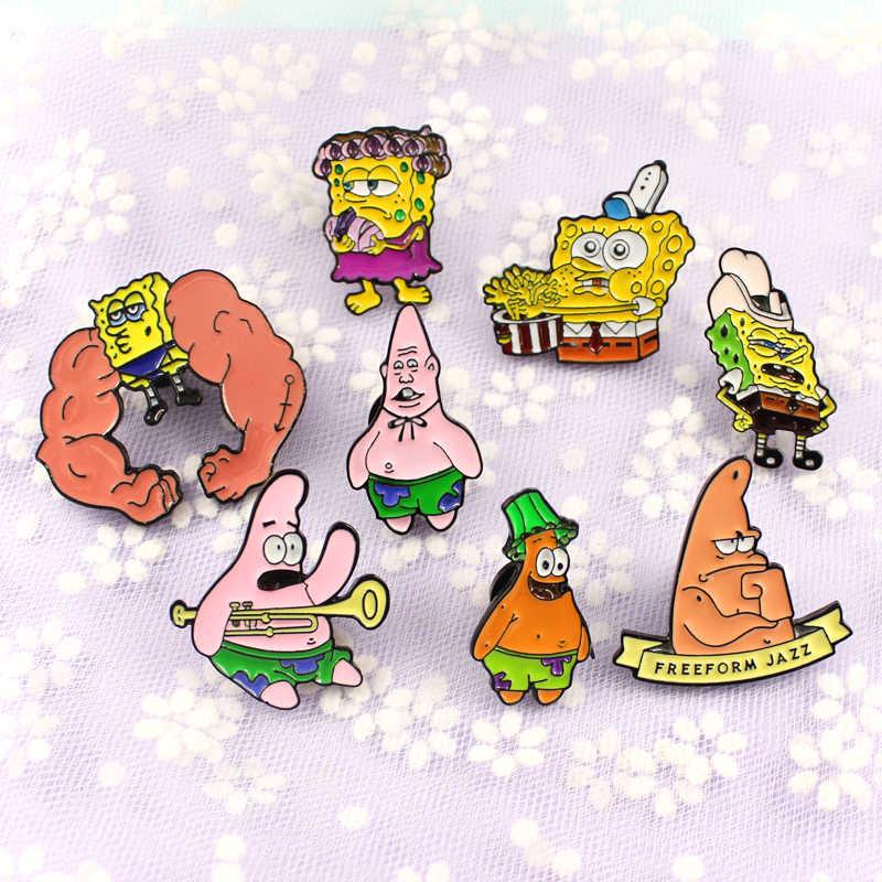 16 stilleri karikatür figürü pimleri kas yaramazlık kıvırcık saç sünger bob gülümseme büyük Patrick yıldız rozeti takı hediye çocuklar arkadaşlar için