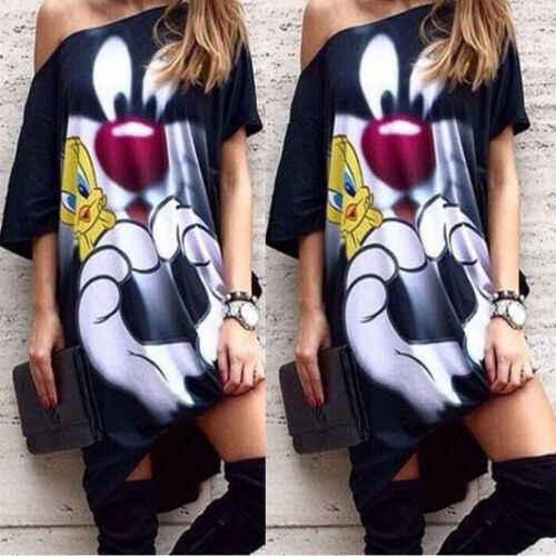 Dos desenhos animados das mulheres casual um ombro mini vestido mulher de manga curta vestido de verão 2019 vestidos senhora streetwear S-XL