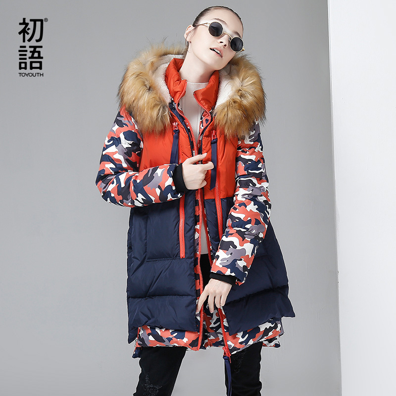 Toyouth Autumn New Contrast Spliced Long Duck   Down     Coats   Female Printing Patwork   Coats   Hoodies Streewear