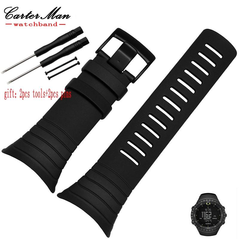 Vente chaude Pour SUUNTO CORE LuxuryRubber Bande De Montre Bracelet noir bleu bracelet en silicone Étanche + 2 outils et 2 pins livraison gratuite