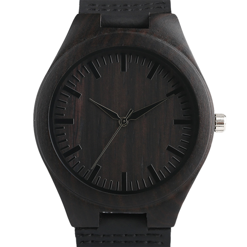 Men's Wood Clock 2017 New arrival Bamboo Natural Watches Black Genuine Leather Bangle Quartz Analog Gifts Sports Reloj de madera classic style natural bamboo wood watches analog ladies womens quartz watch simple genuine leather relojes mujer marca de lujo