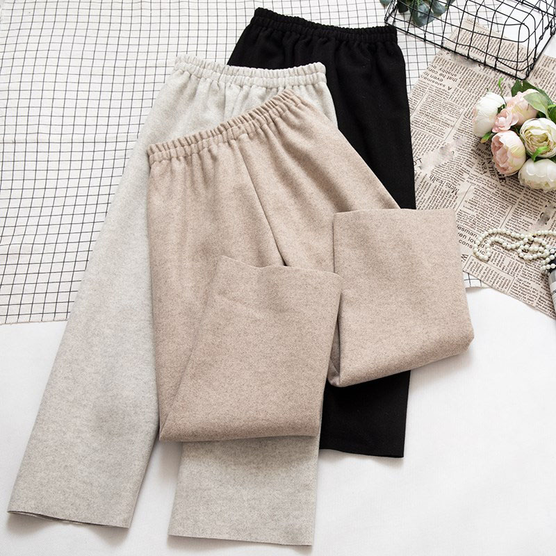 2019 New Fashion Autumn Winter Women Woolen Trousers   Wide     Leg     Pants   Elastic High Waist Female Casual Loose Wool Warm Nine   Pant
