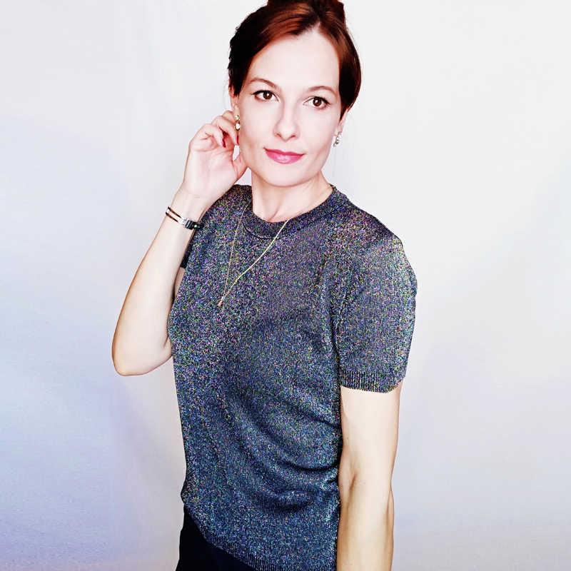 Queechalle gebreide trui vrouwen casual ronde hals effen losse dunne trui Vrouwelijke heldere zijde korte korte mouw vrouwen tops