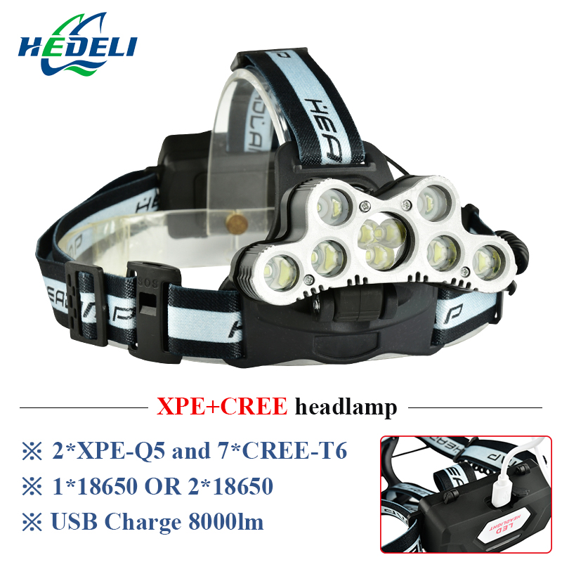 Super Bright Headlamp 9 CREE XML T6 LED Headlight Usb Rechargeable Head Lamp 18650 High Power