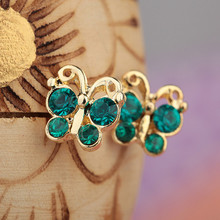Hot Trendy new arrival summer style green bowknot crystal stud earrings For Women Girls  jewelry free shipping