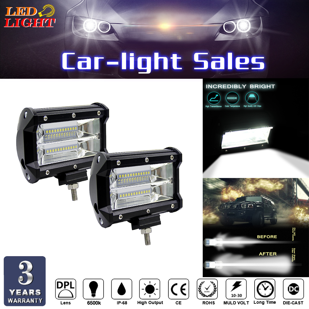 keyecu 2X Hot 72W Spot LED Light Work Bar Lamp Driving Fog Offroad SUV 4WD Car Boat Truck 12-80V