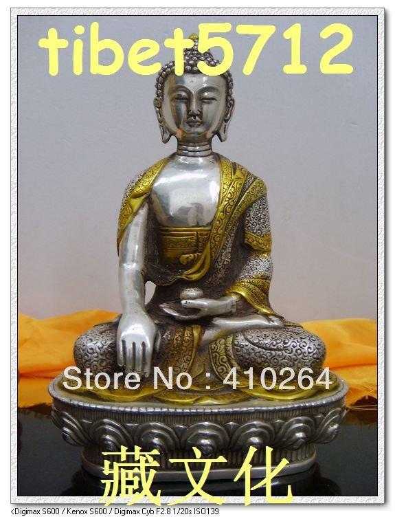 $ Vecchio mestiere $ Bella Riproduzione Antiquariato Tibetano argento Bronzo rivestito SHAKYAMUNI buddha statue (A0314)$ Vecchio mestiere $ Bella Riproduzione Antiquariato Tibetano argento Bronzo rivestito SHAKYAMUNI buddha statue (A0314)