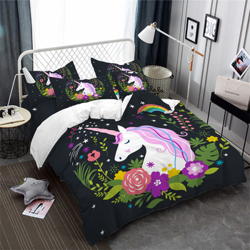 Cute Floral Unicorn Bedding Set