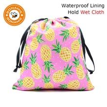 BONAMIE Portable Diaper Bag Drawstring Bags For Wet Clothes Women Beach Bikini Printing Female Handbag Pineapple Sloth