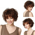 Women Short Curly Wigs Synthetic Hair Wigs for African American Black Women Wig Cap Fashion lady Fluffy brown hair Free Shipping