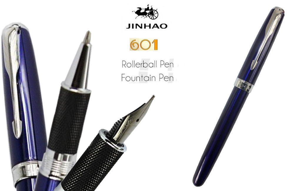 Fountain pen or Roller Ball pens Blue color JINHAO 601 signature pens The best gifts wholesale 2 pcs/lot  FREE SHIPPING-Insured jinhao jh 029 acrylic fountain pen translucent light blue