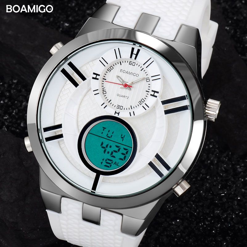 men sport watches dual display digital watch military quartz watch white rubber gift wristwatches 2017 BOAMIGO hot reloj hombre quartz wristwatches 2017 new fashion colorful boys girls students time electronic digital wrist sport watch gift hot dropship626
