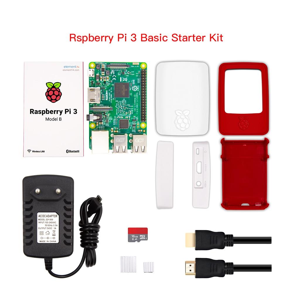 Gros Raspberry Pi 3 modèle B Kit de démarrage avec framboise Pi boîte boîtier rouge blanc/16G carte Sd/5 V 3A Usb chargeur/USB câble