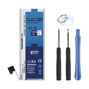 100% originales nohon nuevas baterías para apple iphone 5 capacidad real de la batería 1440 mah + free machine tools