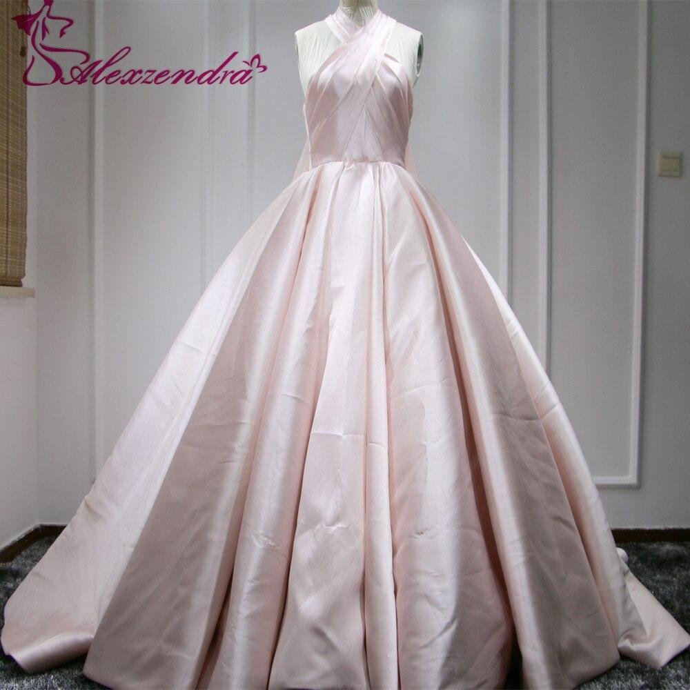 Real Photos Unique Design Pink Ball Gown Satin Wedding Dress with Chiffon Shawl Halter Bride Dresses vestido de noiva