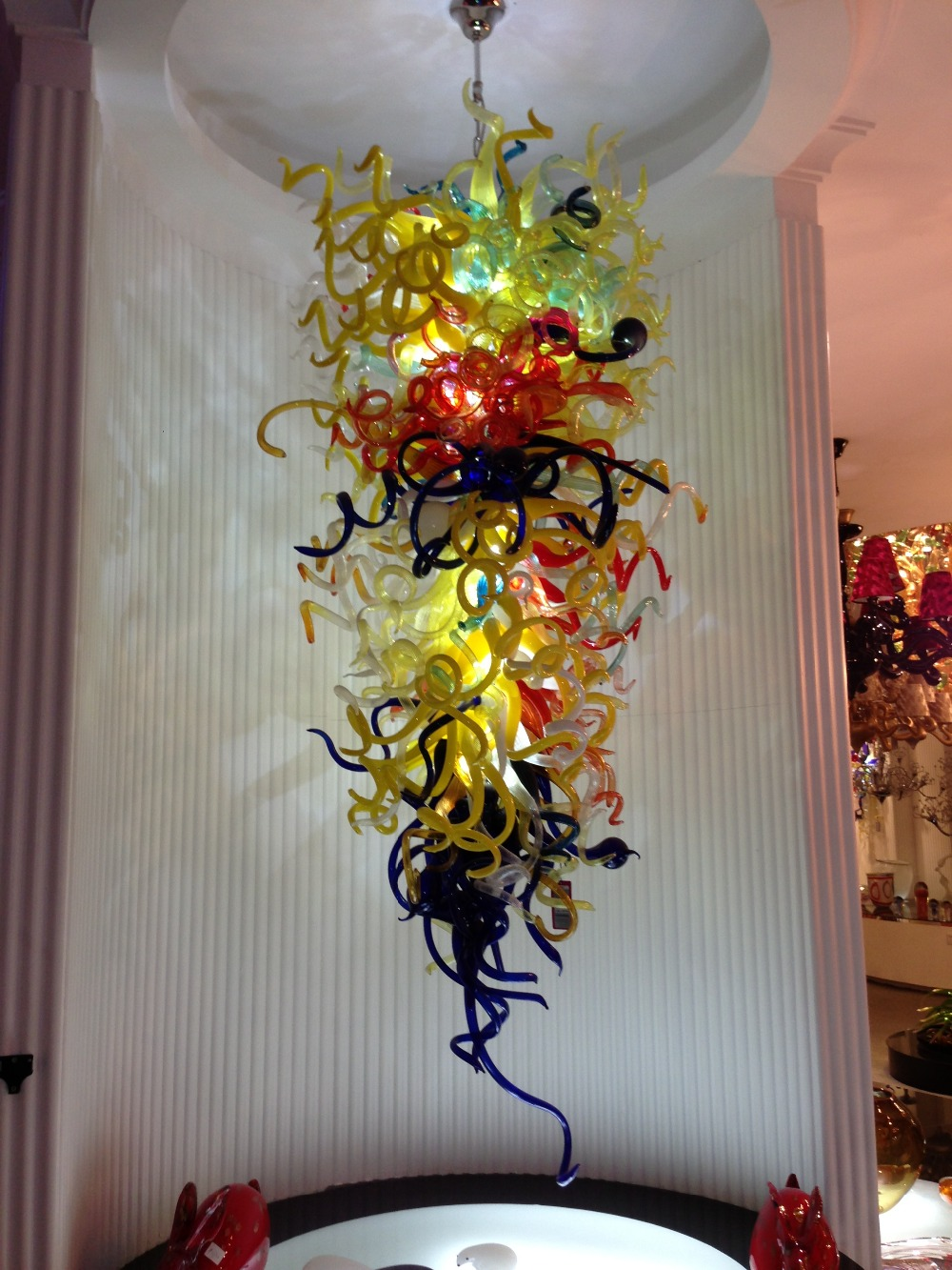 Glass Lamp Art Us 2000 Large Hotel Chandelier Chihuly Art Glass Lamp For New Year Decor Multi Color Blown Glass Chandelier Lighting In Chandeliers From Lights