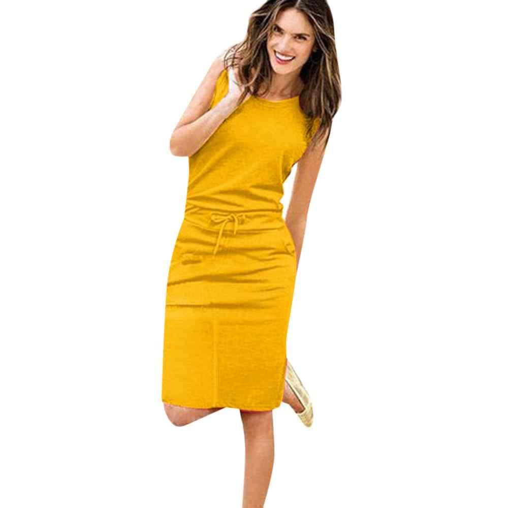 Новое летнее платье Casua, женское праздничное платье без рукавов с карманами и поясом, сарафан-карандаш, женская летняя сумка для пляжа, повседневное вечернее платье