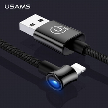 USAMS Smart Power Off LED Cable for Iphone Cable X 8 7 6 5 Plus Ipad2 Mini Fast Charging Cables Phone Charger Cord Data Adapter