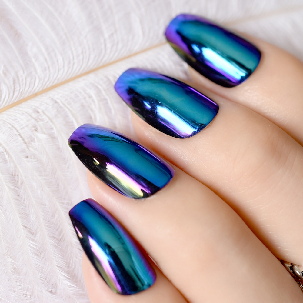 Ballerina Coffin Nails Tips Mirror Chrome Reflection False Nail Magic Effect Holo Blue Purple Fake