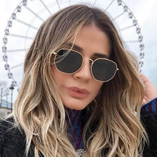 Vintage Sexy Ladies Fashion Sunglasses  Small Frame Polygon Clear Lens Hexagon Metal Anti-UV Cat Eye