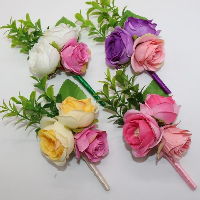 4 Colors Handmade Wedding Bouquet Flower Guest Boutonniere Pins ...